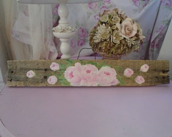 Beautiful hand painted pink roses painted on an Awesome piece of recycled wood  Shabby Chic, Cottage, Prairie Decor