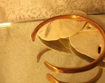 Mens copper cuff bracelet, handmade hand hammered from 6 gauge copper wire