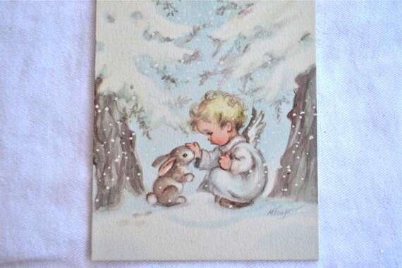 vintage weihnachtskarte baby engel und schnee hase. Black Bedroom Furniture Sets. Home Design Ideas