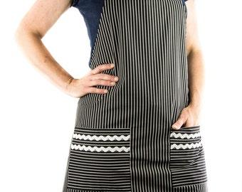 Women's Black Pinstripe Apron (FULL)