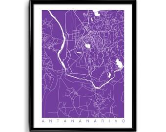 Antananarivo Print Art / Antananarivo Map Art Madagascar Poster Wall Art / Line Art / Choose Size and Color