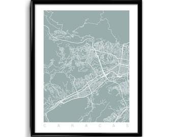 Caracas Print Art / Caracas Map Art Venezuela Poster Wall Art / Line Art / Choose Size and Color