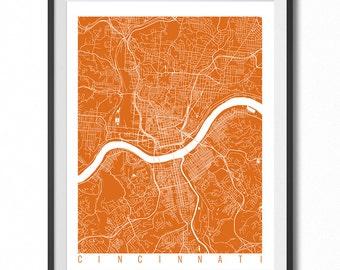 Cincinnati Map Art Print / Ohio Poster / Cincinnati Wall Art Decor / Choose Size and Color