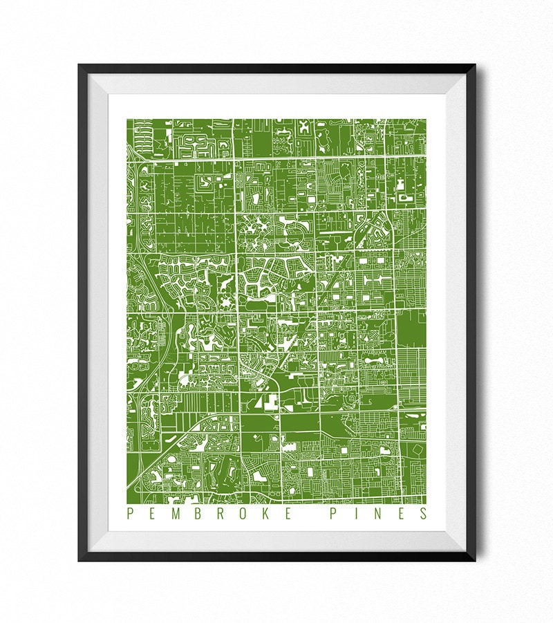 PEMBROKE PINES Map Art Print / Florida Poster / Pembroke Pines