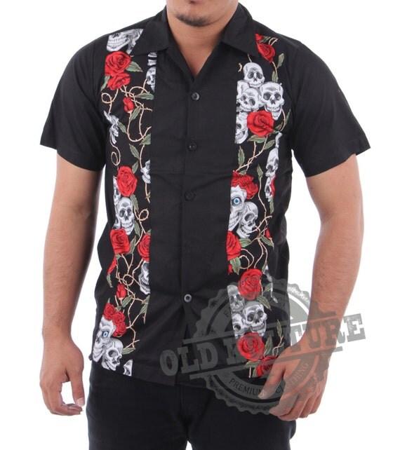 Halloween rockabilly men bowling shirt buttons front skull for Rockabilly outfit damen