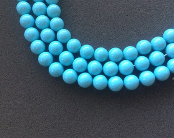 "16"" Turquoise Blue Color Shell Pearl 12MM Round Beads"