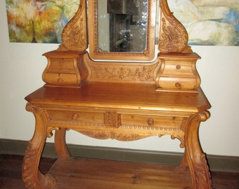 Spanish Influence Heavily Hand Carved Pine Vanity-Dresser with 5 Drawers