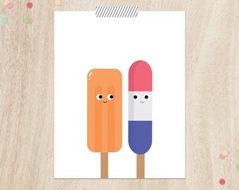 "Popsicle nursery art, Instant download, 11x14"", Ice cream poster, Modern nursery art, Ice cream print, Modern nursery prints, Playroom art"