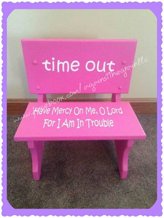 Handmade wooden toddler time out chair bench by for Kids chair with name