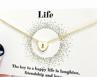Keyhole Heart 14K Over Sterling Silver Necklace
