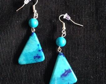 Turquoise drop earrings.