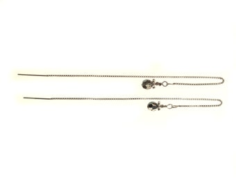 Long Sterling Silver Threaders with Swarovski Crystals
