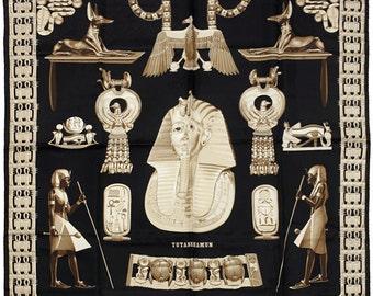 "HERMES SCARF Silk ""Tutankhamun"" by Vladimir Rybaltchenko 90cm Carre 100% Auth"