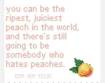 Peach Quote Cross Stitch Pattern Download