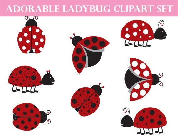 Ladybug Clipart Commercial Use Whimsical Art Love Bug