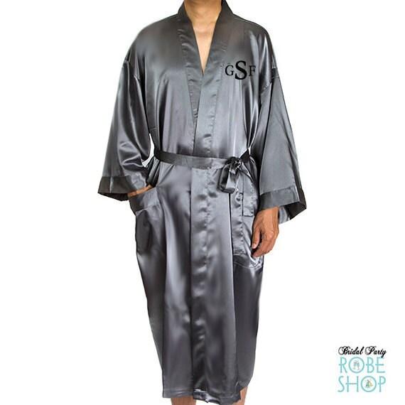 mens embroidered satin robe monogrammed mens robe ankle