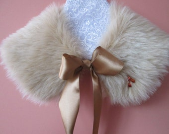 Girl's Faux Fur Collar and a Faux Fur Purse in Sand with Swarovski Crystals / Wedding Collar / Flower Girl / Prom
