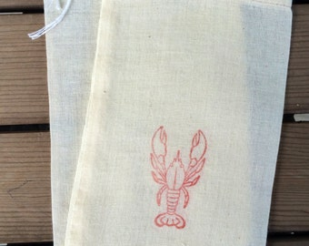 10 Beach wedding favor bag, Lobster favor bags, Maine wedding favor bags, Lobster theme, nautical favor bags