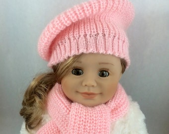 18 Inch Doll Hat and Scarf. 18 Inch Doll Pink Scarf and Pink Hat. Also fits Maplela, Kidz 'n' Cats  and Gotz.