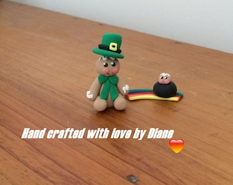 Gingerbread Leprechaun & Mini Gingerbread - Hand Crafted Polymer Clay - St Patrick's Day