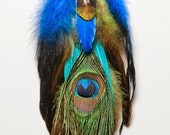 Mystic Eye Winged Shamaness Peacock Eye and Blue Dangle Feather Earrings