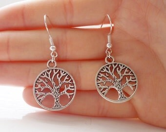 tree of life earrings silver earrings fashion earrings handmade earrings silver tree earrings dangle earrings gift for her drop earrings