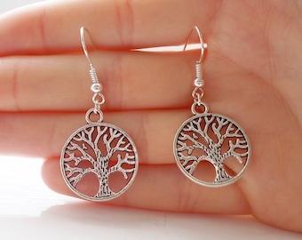 tree of life earrings silver earrings fashion earrings handmade earrings silver tree earrings dangle earrings gift for her drop earrings