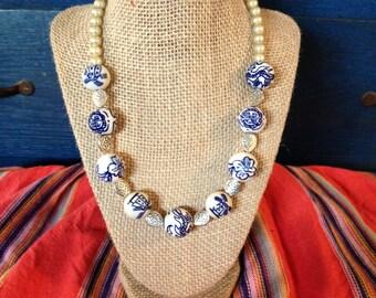 Ornate ceramic bead necklace