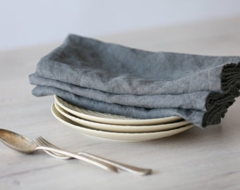 Set of Linen Napkins (Large) - Graphite