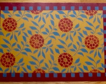 Hand painted and stenciled canvas floorcloth