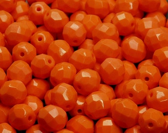 25pcs Czech Fire-Polished Faceted Glass Beads Round 8mm Opaque Orange