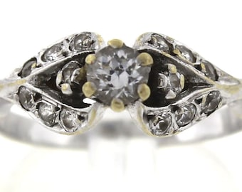 Vintage Antique Estate 14K White Gold 0.35ctw Diamond Ring 2.6 Grams