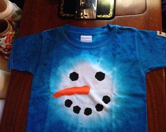 Snowman TieDye T-shirt Christmas Holidays Kids Childrens Tie Dye Shirt MOOSIE BRAND