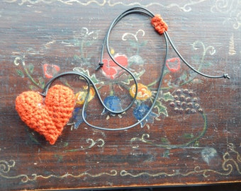 Crochet amigurumi heart necklace
