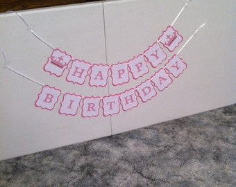Princess theme Happy Birthday banner