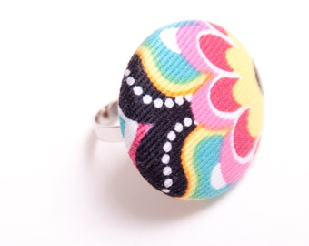 Fabric Button Adjustable Rings