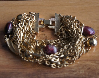 Vintage Jewelry Braselet Stone Ball  Chain Gold Multicolor   E-167