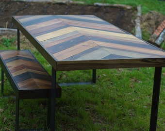 Reclaimed Wood Chevron Dining Table with Bench - Made to Order ***Local Pick-up Only- Austin, TX***