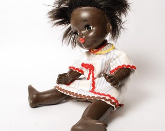 Vintage Russian Plastic Toy, Doll, Black Afrocan Girl  (RT055)