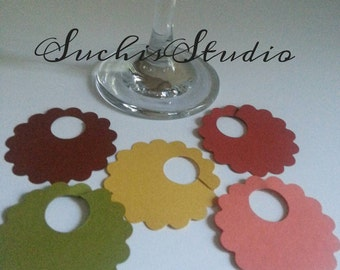 25 Wine glass charms/ Wine glass tags/ Wine charms/ drink tags/ Fall wedding wine glass tags/ Fall colors/ Thankgiving party wine tags