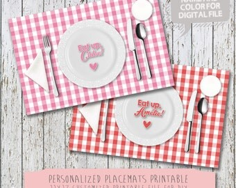Printable Personalized Kids 11 x 17 Placemat - Eat Up! Learn to set the table placemat - picnic - gingham - DIY printable file only