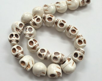 Bone White Howlite - skull beads- 18mm - 23 beads - Full Strand