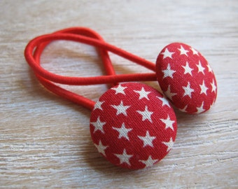 Fabric Covered Button Hair Elastic – Star (Set of 2)