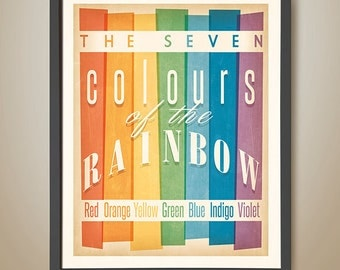 The seven colours of the rainbow. Learn the rainbow. Rainbow colours. Rainbow poster. RRetro rainbow poster.