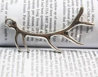 Antler Charms - Antique silver Deer Horn Charm Pendants  32*68mm