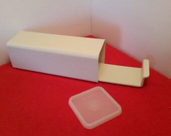 vintage tupperware cheese keeper / tupperware Velveeta keeper container / almond tupperware #1696