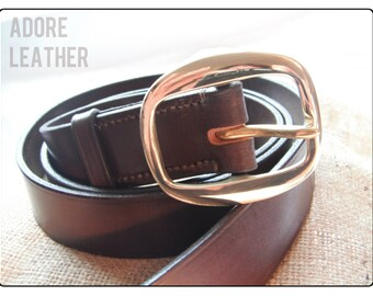 """Nut Brown Leather Belt 1 1/8"""" Wide 