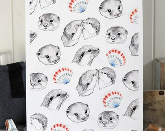 Otters Print A4 Open Edition