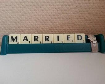 Married word tile ornament. Handmade. Dove / bird charm. Green - great wedding present