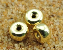 FINDING,Gold plated,Spacer beads,6 mm diameter X 3.5mm Thick,30 pcs